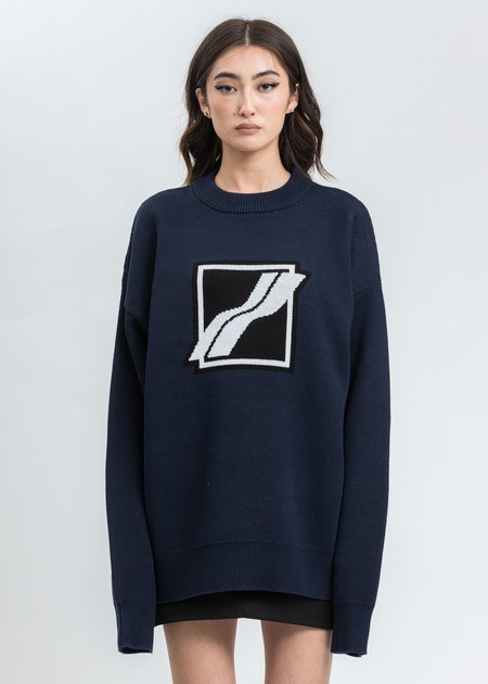 we11done Square Logo Jacquard Knit Pull Over - Navy