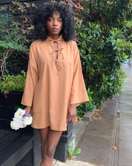 Bohème Goods The Silk Tie Dress - Caramel
