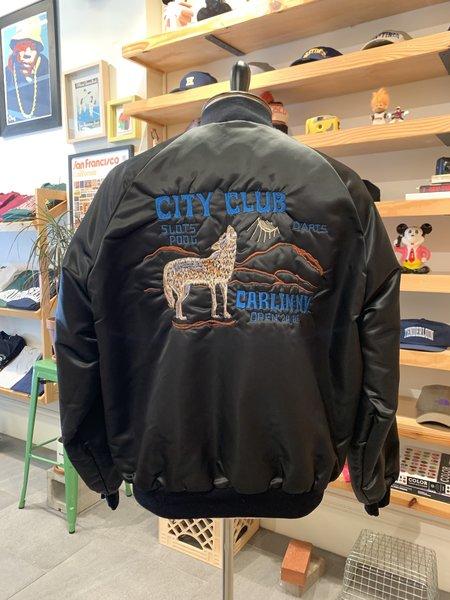 Vintage Tilted Brim 80s Satin Bomber Coyote Jacket - Black