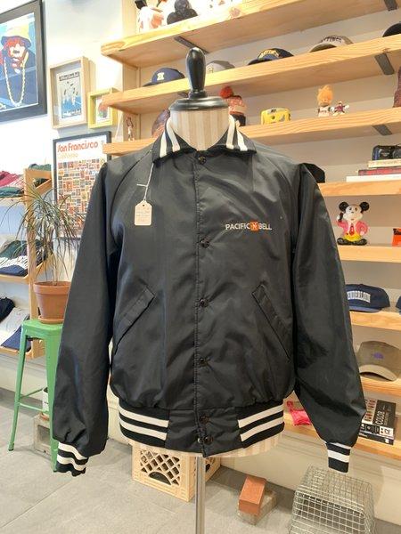 Vintage Tilted Brim Pac Bell Nylon Varsity Jacket - Black/White
