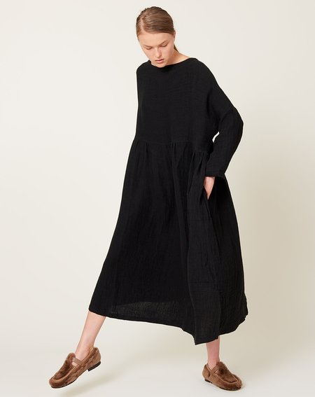 ICHI ANTIQUITES Linen Dobby Azumadaki Dress - Black