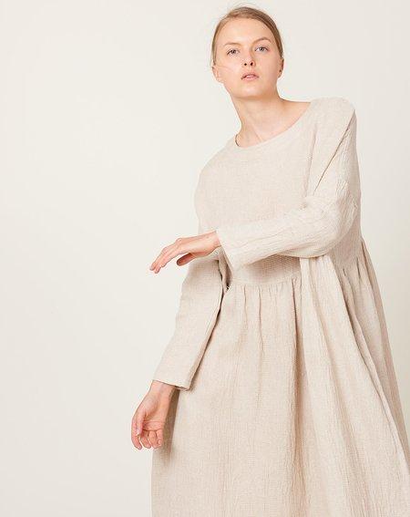 ICHI ANTIQUITES Linen Waffle Dress - Natural