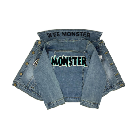 kids Wee Monster Denim Jacket - blue