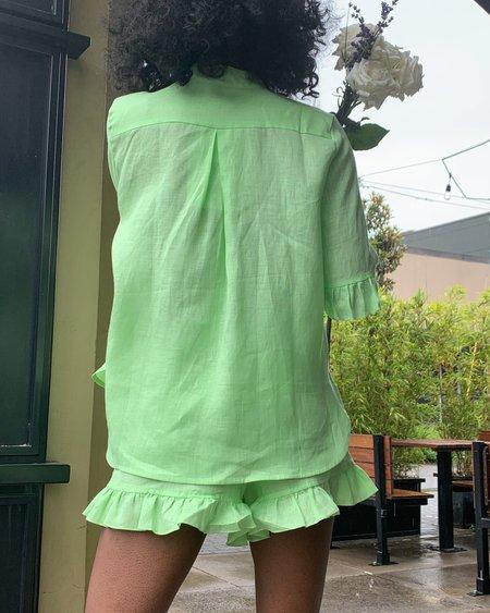 Sleeper Linen Lounge Suit w/ Ruffles - Lime