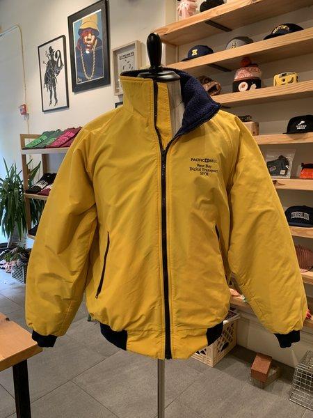 Vintage Tilted Brim Pac Bell Nylon / Fleece Jacket - yellow/blue