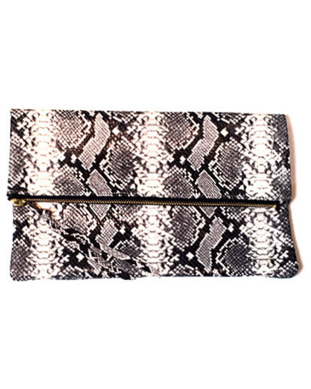 Oliveve anastasia in black and white cobra embossed cow leather