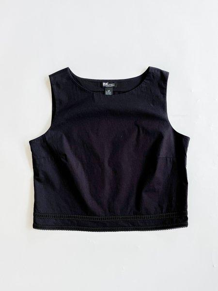 Vintage Cropped Cotton Tank - black