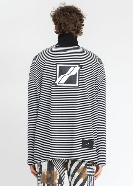 we11done Logo Print Striped Zip-Up Sweatshirts - Black/White