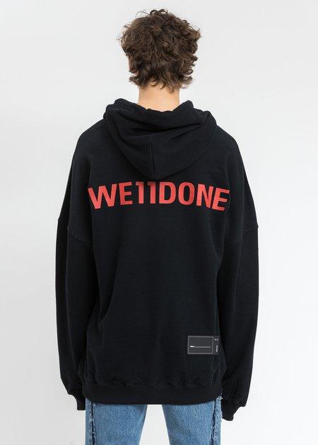 we11done Back Red Logo Hoodie - Black