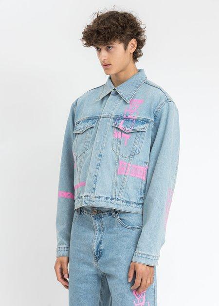 we11done Neon Logo Print Denim Jacket - Blue