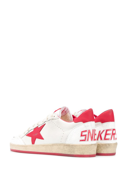 Golden Goose Ball Star sneakers - White Leather Upper/Strawberry Red Star