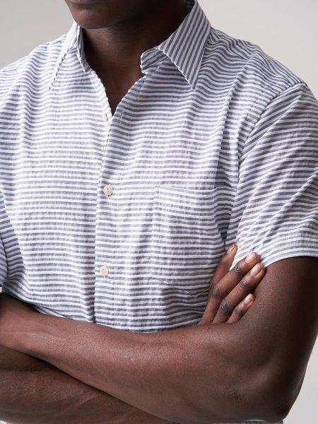 Freemans Sporting Club Short Sleeve Shirt - Blue Stripe