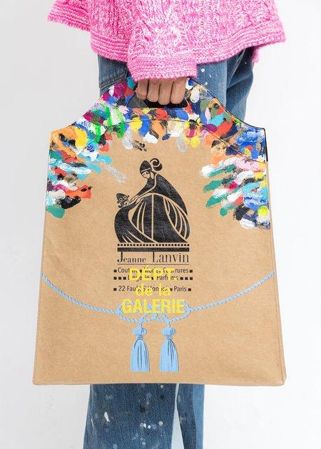 Lanvin Printed Kraft Paper Medium Grocery Bag - Beige