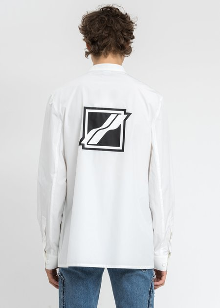 We11done Logo Print Over Shirt - White