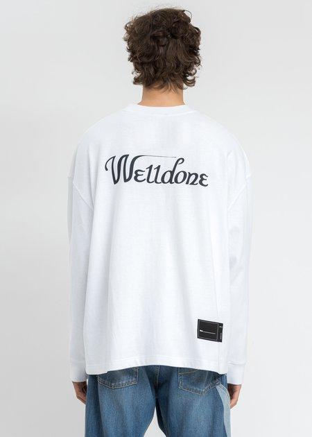 we11done Print Logo Long Sleeves - White