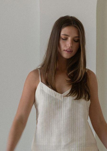 Laude The Label Suri Slip Dress - Oat Milk Stripe