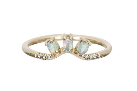Jennie Kwon Designs Diamond Opal Trio Equilibrium Ring