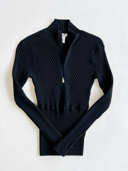 Vintage Caché Silk Ribbed Knit Zip Top - Black