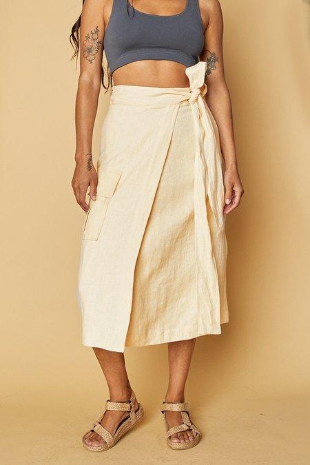 back beat rags Linen Wrap Cargo Skirt - Creme