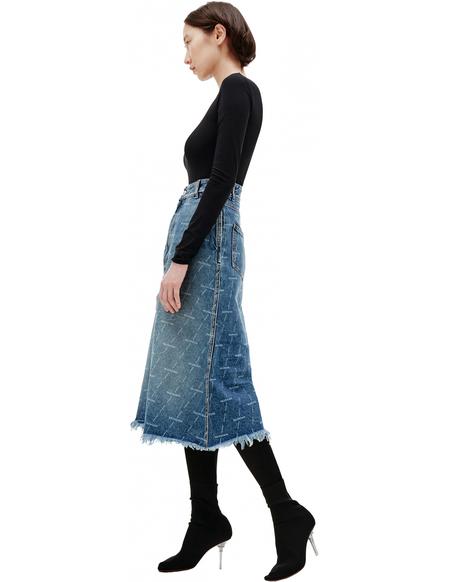 Balenciaga Logo Printed Denim Skirt - Navy Blue