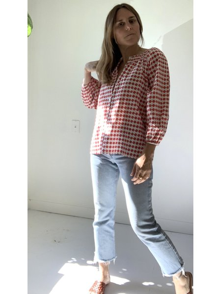 Tucker Classic Moroccan Tiles Blouse - Red
