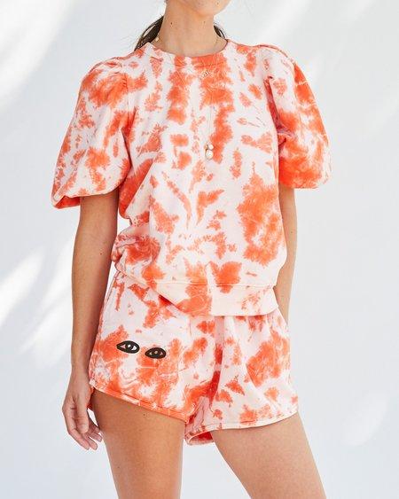 Clare V. Tie-Dye Shorts with Eyes - Blood Orange