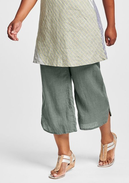 Flax Shirttail Flood-Linen Elastic Waist Pants