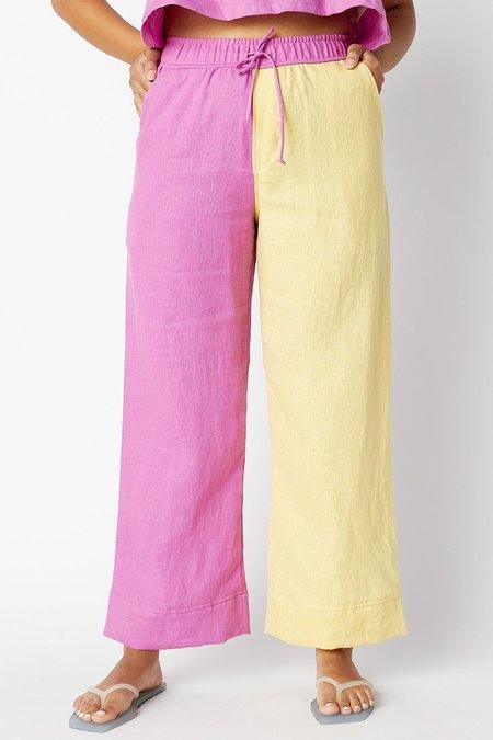 back beat rags Maya Linen Pants - Cyber/Lime