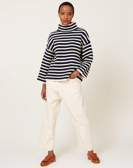 Demy Lee Olyvia Stripe Turtleneck Sweater - Navy/Natural
