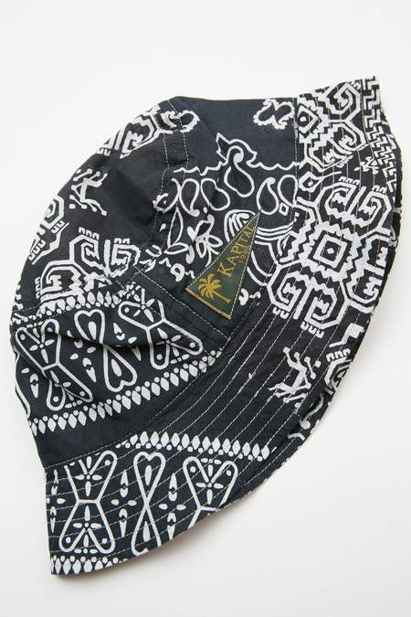 Kapital Short Brim Bandana Patchwork Bucket Hat - Black