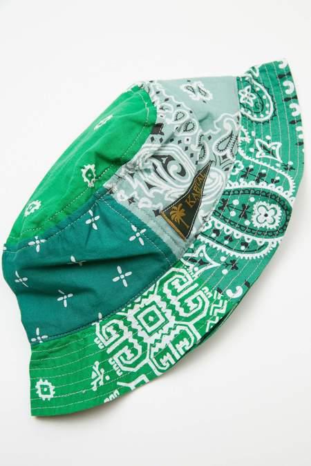 Kapital Short Brim Bandana Patchwork Bucket Hat - Green
