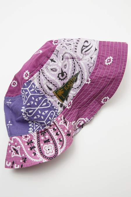Kapital Short Brim Bandana Patchwork Bucket Hat - Light Purple