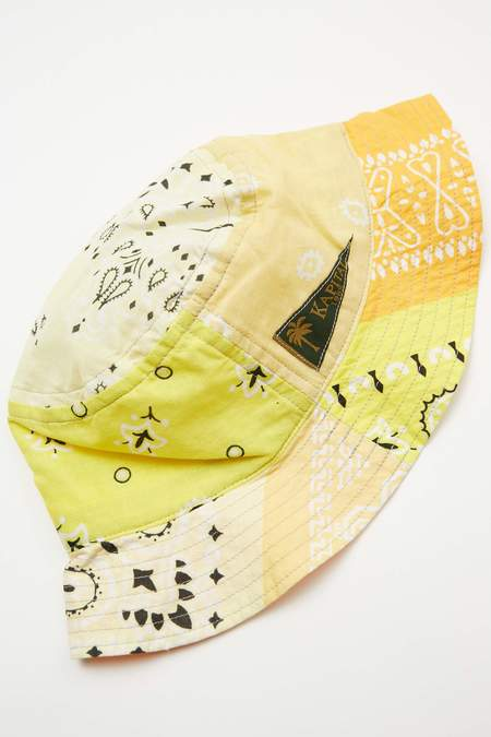 Kapital Short Brim Bandana Patchwork Bucket Hat - Yellow