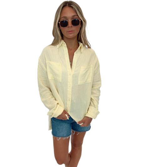 Lola Waverly Gauze Button Up - Lemon