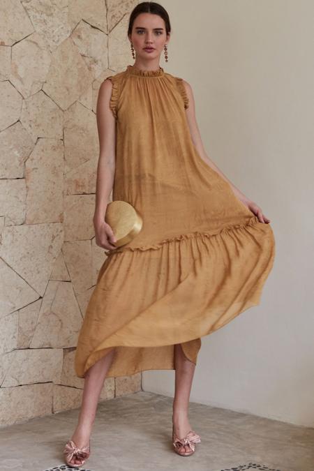 Christy Lynn Silk Jacquard Gemma Dress - Sunset