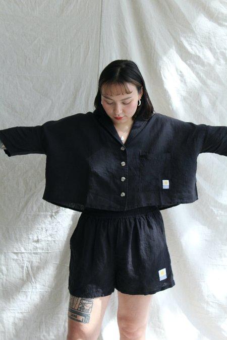 L.F.Markey Basic Linen Short - Black