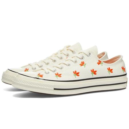 Converse Women's Chuck 70 Embroidered Garden Party SNEAKERS - Egret/Bright Poppy/Black