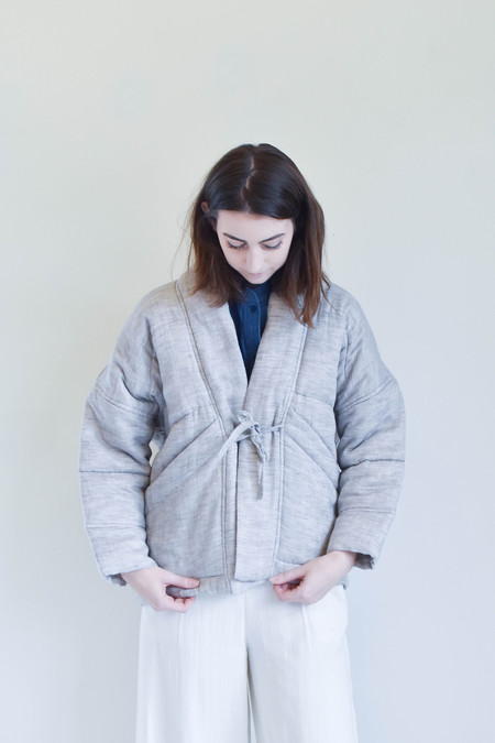 7115 By Szeki Quilted Linen Jacket