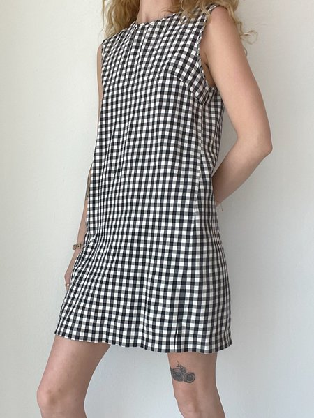 Vintage Gingham Mini Dress - Black/White