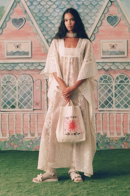 Anna Sui Flowering Fields Lace Kaftan - Cream
