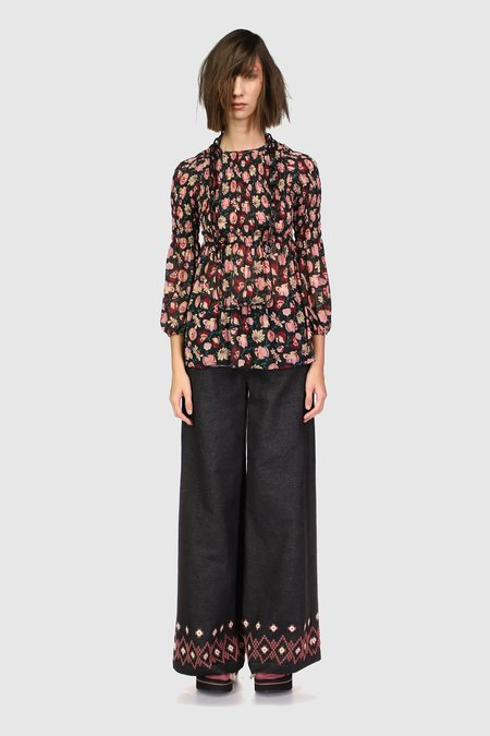 Anna Sui Garden of Posies Smocked Top