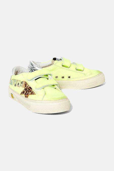 kids Golden Goose May Sneakers Shoes - Yellow Flourecent