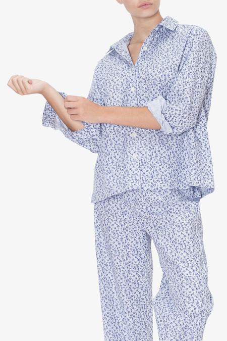 The Sleep Shirt Button Down Top Blue Floral Stripe