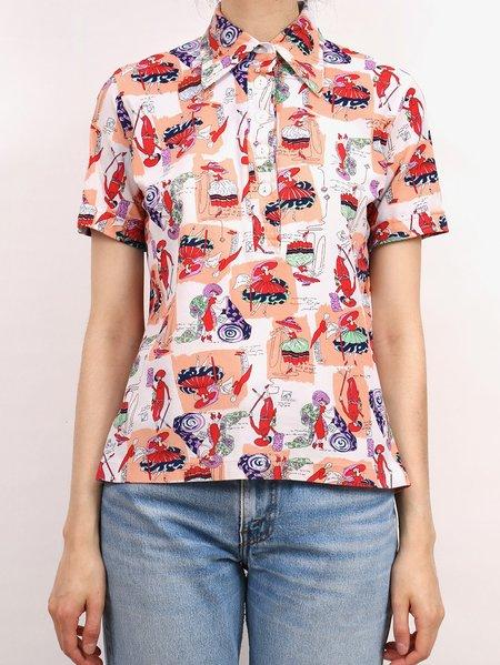Vintage lady print half sleeve - red/peach/white multicolour