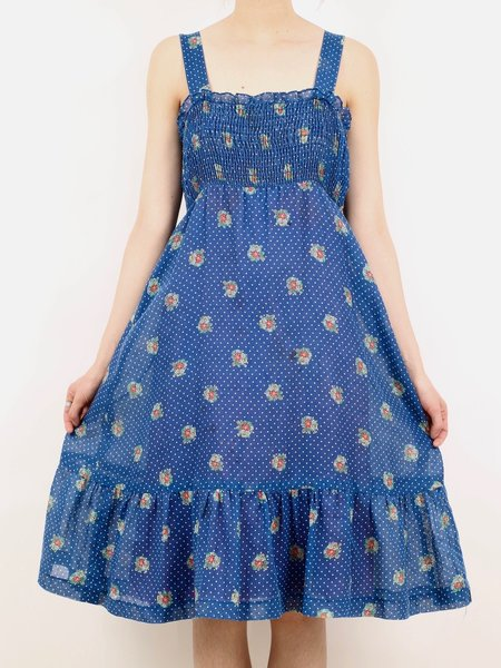vintage stretchy blue midi dress - blue