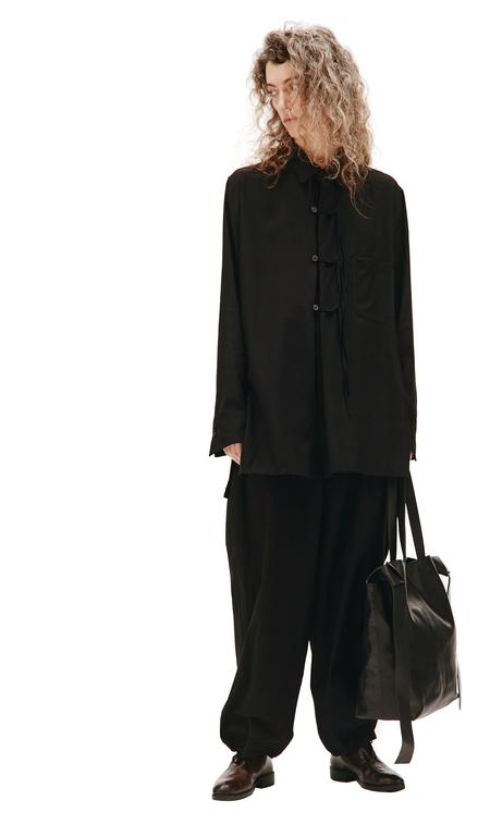 Yohji Yamamoto Black Leather Tote Bag