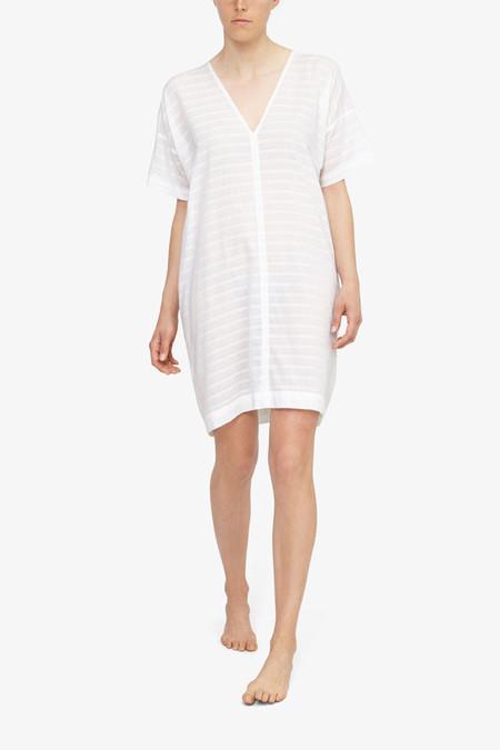 The Sleep Shirt Kaftan White Sheer Stripe