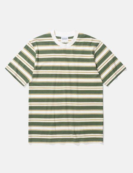 Norse Projects Johannes Multi Stripe T-Shirt - Moss Green