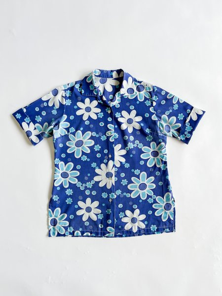 Vintage Cotton Blouse - Blue Daisy Print