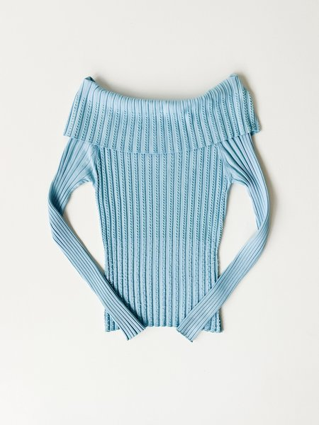 Vintage Caché Ribbed Knit Off The Shoulder Top - Baby Blue